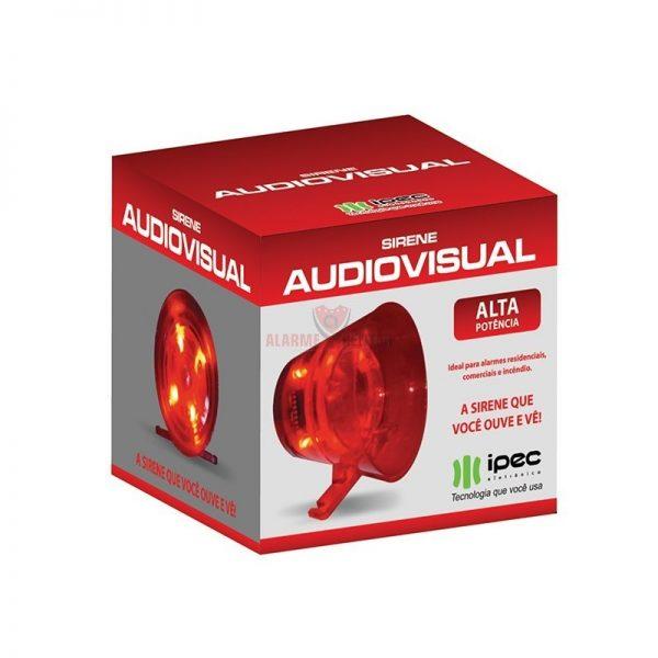 Sirene de alarme audio visual vermelha