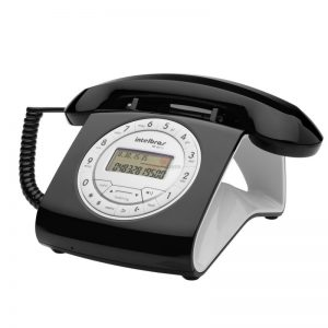 telefone decorativo retro preto